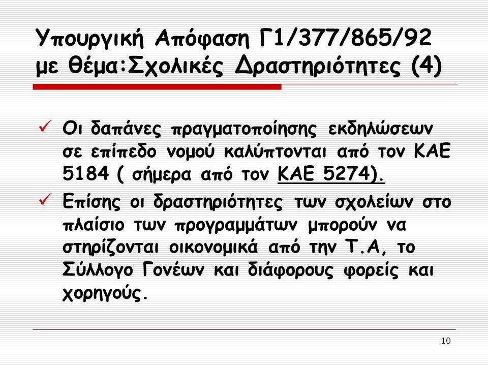 10 Υπουργική Απόφαση Γ1/377/865/92 με θέμα:Σχολικές Δραστηριότητες (4) Οι δαπάνες πραγματοποίησης εκδηλώσεων σε επίπεδο νομού καλύπτονται από τον ΚΑΕ