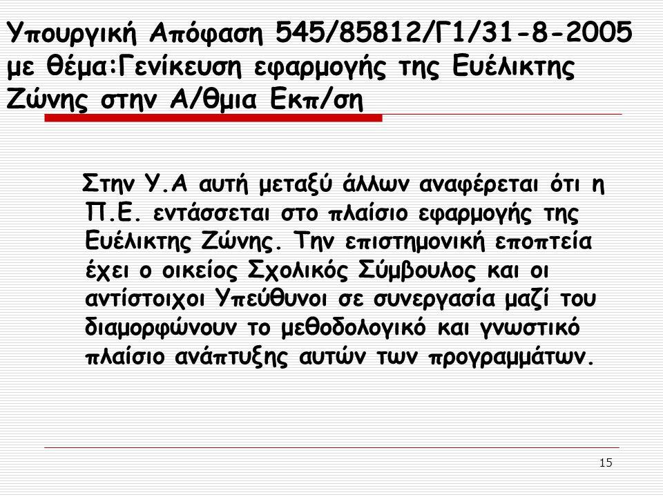 15 Υπουργική Απόφαση 545/85812/Γ1/31-8-2005 με θέμα:Γενίκευση εφαρμογής της Ευέλικτης Ζώνης στην Α/θμια Εκπ/ση Στην Υ.Α αυτή μεταξύ άλλων αναφέρεται ό