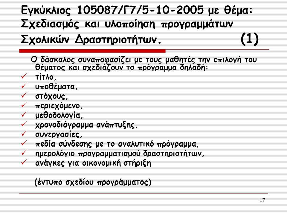 17 Εγκύκλιος 105087/Γ7/5-10-2005 με θέμα: Σχεδιασμός και υλοποίηση προγραμμάτων Σχολικών Δραστηριοτήτων. (1) Ο δάσκαλος συναποφασίζει με τους μαθητές
