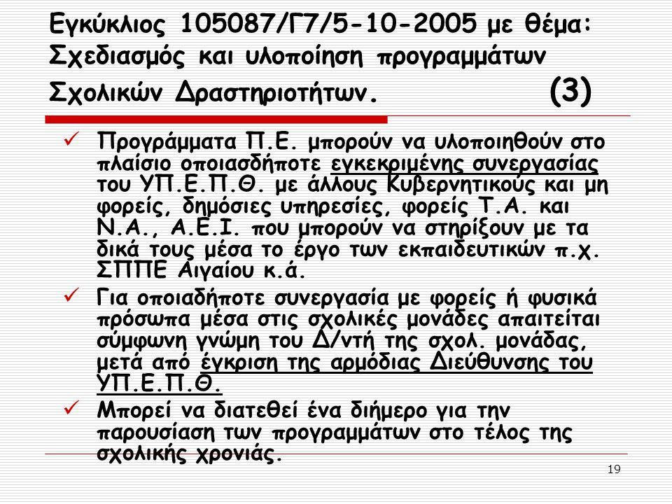 19 Εγκύκλιος 105087/Γ7/5-10-2005 με θέμα: Σχεδιασμός και υλοποίηση προγραμμάτων Σχολικών Δραστηριοτήτων. (3) Προγράμματα Π.Ε. μπορούν να υλοποιηθούν σ