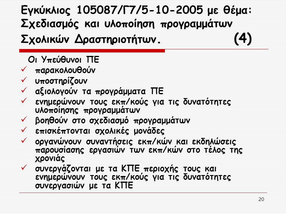 20 Εγκύκλιος 105087/Γ7/5-10-2005 με θέμα: Σχεδιασμός και υλοποίηση προγραμμάτων Σχολικών Δραστηριοτήτων. (4) Οι Υπεύθυνοι ΠΕ παρακολουθούν υποστηρίζου