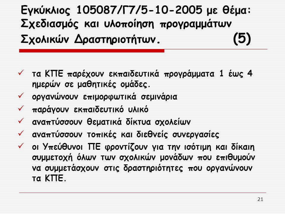 21 Εγκύκλιος 105087/Γ7/5-10-2005 με θέμα: Σχεδιασμός και υλοποίηση προγραμμάτων Σχολικών Δραστηριοτήτων. (5) τα ΚΠΕ παρέχουν εκπαιδευτικά προγράμματα
