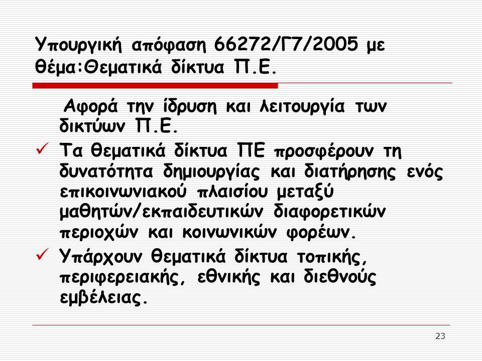 23 Υπουργική απόφαση 66272/Γ7/2005 με θέμα:Θεματικά δίκτυα Π.Ε. Αφορά την ίδρυση και λειτουργία των δικτύων Π.Ε. Τα θεματικά δίκτυα ΠΕ προσφέρουν τη δ