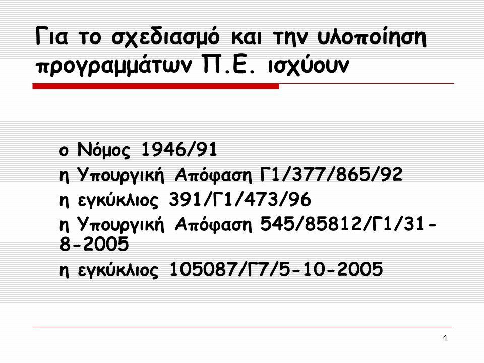 4 Για το σχεδιασμό και την υλοποίηση προγραμμάτων Π.Ε. ισχύουν ο Νόμος 1946/91 η Υπουργική Απόφαση Γ1/377/865/92 η εγκύκλιος 391/Γ1/473/96 η Υπουργική