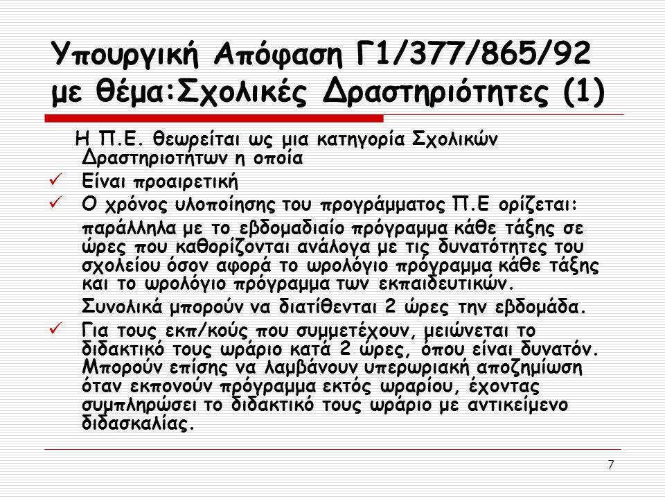 7 Υπουργική Απόφαση Γ1/377/865/92 με θέμα:Σχολικές Δραστηριότητες (1) Η Π.Ε. θεωρείται ως μια κατηγορία Σχολικών Δραστηριοτήτων η οποία Είναι προαιρετ