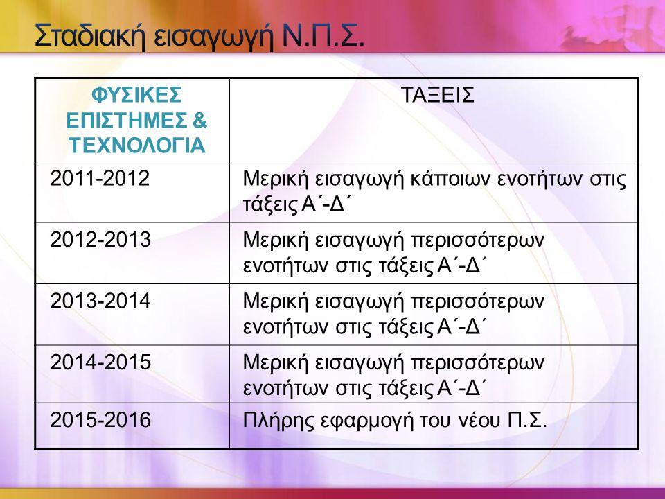 ΦΥΣΙΚΕΣ ΕΠΙΣΤΗΜΕΣ & ΤΕΧΝΟΛΟΓΙΑ ΤΑΞΕΙΣ 2011-2012Μερική εισαγωγή κάποιων ενοτήτων στις τάξεις Α΄-Δ΄ 2012-2013Μερική εισαγωγή περισσότερων ενοτήτων στις τάξεις Α΄-Δ΄ 2013-2014Μερική εισαγωγή περισσότερων ενοτήτων στις τάξεις Α΄-Δ΄ 2014-2015Μερική εισαγωγή περισσότερων ενοτήτων στις τάξεις Α΄-Δ΄ 2015-2016Πλήρης εφαρμογή του νέου Π.Σ.