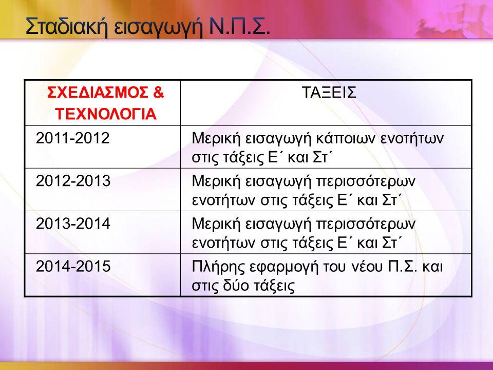 ΣΧΕΔΙΑΣΜΟΣ & ΤΕΧΝΟΛΟΓΙΑ ΤΑΞΕΙΣ 2011-2012Μερική εισαγωγή κάποιων ενοτήτων στις τάξεις Ε΄ και Στ΄ 2012-2013Μερική εισαγωγή περισσότερων ενοτήτων στις τάξεις Ε΄ και Στ΄ 2013-2014Μερική εισαγωγή περισσότερων ενοτήτων στις τάξεις Ε΄ και Στ΄ 2014-2015Πλήρης εφαρμογή του νέου Π.Σ.