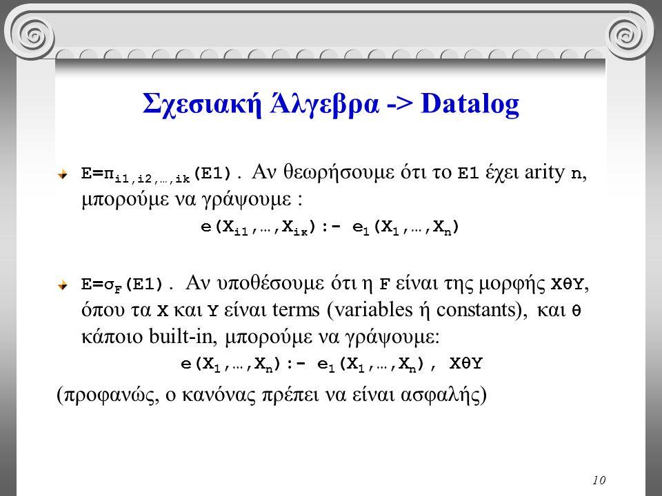 10 Σχεσιακή Άλγεβρα -> Datalog Ε=π i1,i2,…,ik (Ε1).
