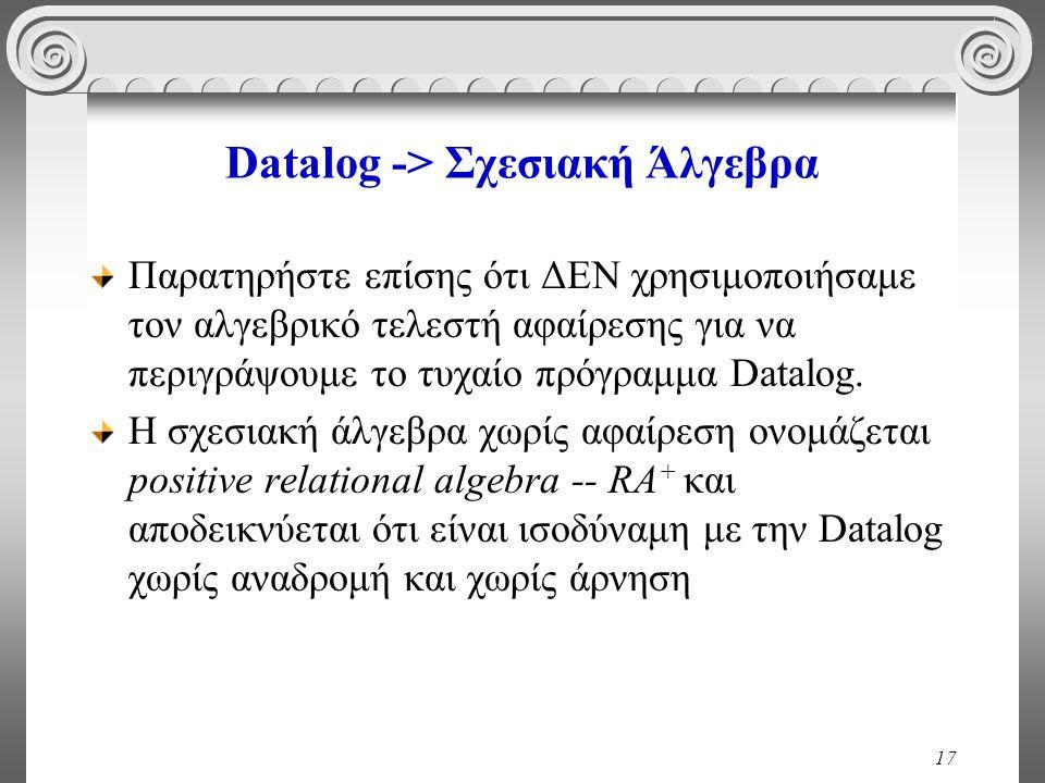 17 Datalog -> Σχεσιακή Άλγεβρα Παρατηρήστε επίσης ότι ΔΕΝ χρησιμοποιήσαμε τον αλγεβρικό τελεστή αφαίρεσης για να περιγράψουμε το τυχαίο πρόγραμμα Datalog.