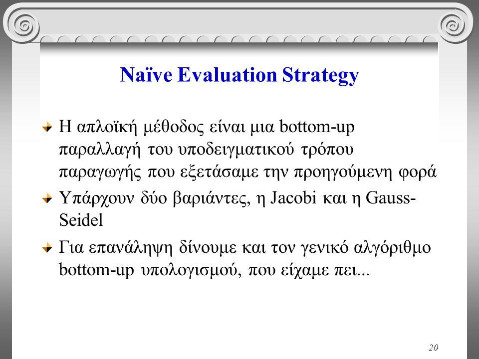 20 Naïve Evaluation Strategy Η απλοϊκή μέθοδος είναι μια bottom-up παραλλαγή του υποδειγματικού τρόπου παραγωγής που εξετάσαμε την προηγούμενη φορά Υπάρχουν δύο βαριάντες, η Jacobi και η Gauss- Seidel Για επανάληψη δίνουμε και τον γενικό αλγόριθμο bottom-up υπολογισμού, που είχαμε πει...