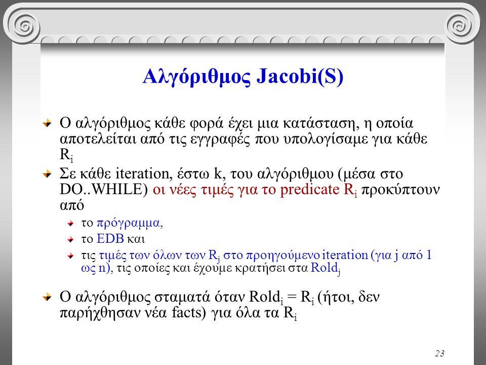 23 Αλγόριθμος Jacobi(S) Ο αλγόριθμος κάθε φορά έχει μια κατάσταση, η οποία αποτελείται από τις εγγραφές που υπολογίσαμε για κάθε R i Σε κάθε iteration, έστω k, του αλγόριθμου (μέσα στο DO..WHILE) οι νέες τιμές για το predicate R i προκύπτουν από το πρόγραμμα, το EDB και τις τιμές των όλων των R j στο προηγούμενο iteration (για j από 1 ως n), τις οποίες και έχουμε κρατήσει στα Rold j Ο αλγόριθμος σταματά όταν Rold i = R i (ήτοι, δεν παρήχθησαν νέα facts) για όλα τα R i