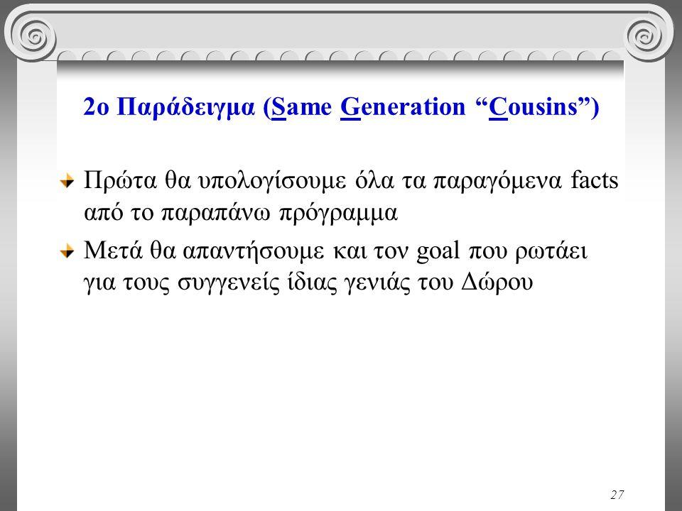 27 2o Παράδειγμα (Same Generation Cousins ) Πρώτα θα υπολογίσουμε όλα τα παραγόμενα facts από το παραπάνω πρόγραμμα Μετά θα απαντήσουμε και τον goal που ρωτάει για τους συγγενείς ίδιας γενιάς του Δώρου