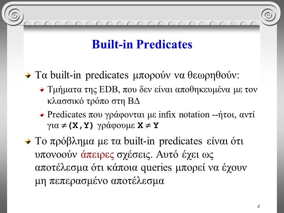 4 Built-in Predicates Τα built-in predicates μπορούν να θεωρηθούν: Τμήματα της EDB, που δεν είναι αποθηκευμένα με τον κλασσικό τρόπο στη ΒΔ Predicates που γράφονται με infix notation --ήτοι, αντί για  (Χ,Υ) γράφουμε Χ  Υ Το πρόβλημα με τα built-in predicates είναι ότι υπονοούν άπειρες σχέσεις.