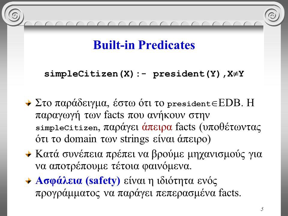 5 Built-in Predicates simpleCitizen(X):- president(Y),X  Y Στο παράδειγμα, έστω ότι το president  EDB.