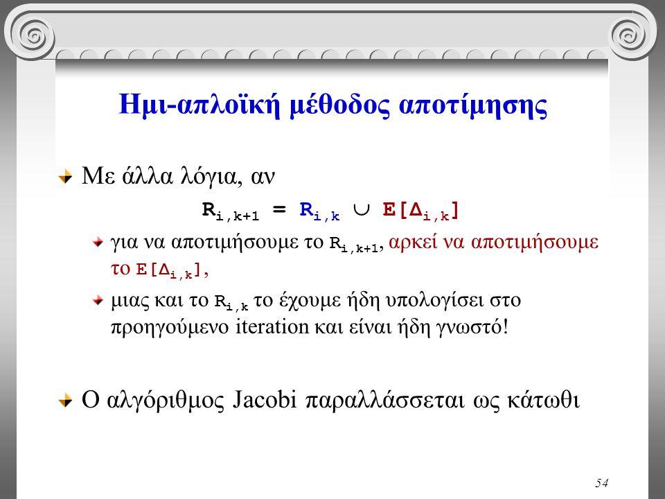 54 Ημι-απλοϊκή μέθοδος αποτίμησης Με άλλα λόγια, αν R i,k+1 = R i,k  Ε[Δ i,k ] για να αποτιμήσουμε το R i,k+1, αρκεί να αποτιμήσουμε το Ε[Δ i,k ], μιας και το R i,k το έχουμε ήδη υπολογίσει στο προηγούμενο iteration και είναι ήδη γνωστό.