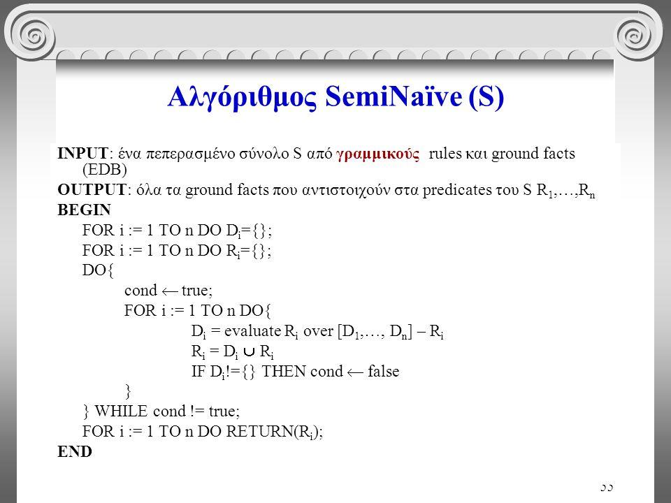 55 Αλγόριθμος SemiNaïve (S) INPUT: ένα πεπερασμένο σύνολο S από γραμμικούς rules και ground facts (EDB) OUTPUT: όλα τα ground facts που αντιστοιχούν στα predicates του S R 1,…,R n BEGIN FOR i := 1 TO n DO D i ={}; FOR i := 1 TO n DO R i ={}; DO{ cond  true; FOR i := 1 TO n DO{ D i = evaluate R i over [D 1,…, D n ] – R i R i = D i  R i IF D i !={} THEN cond  false } } WHILE cond != true; FOR i := 1 TO n DO RETURN(R i ); END