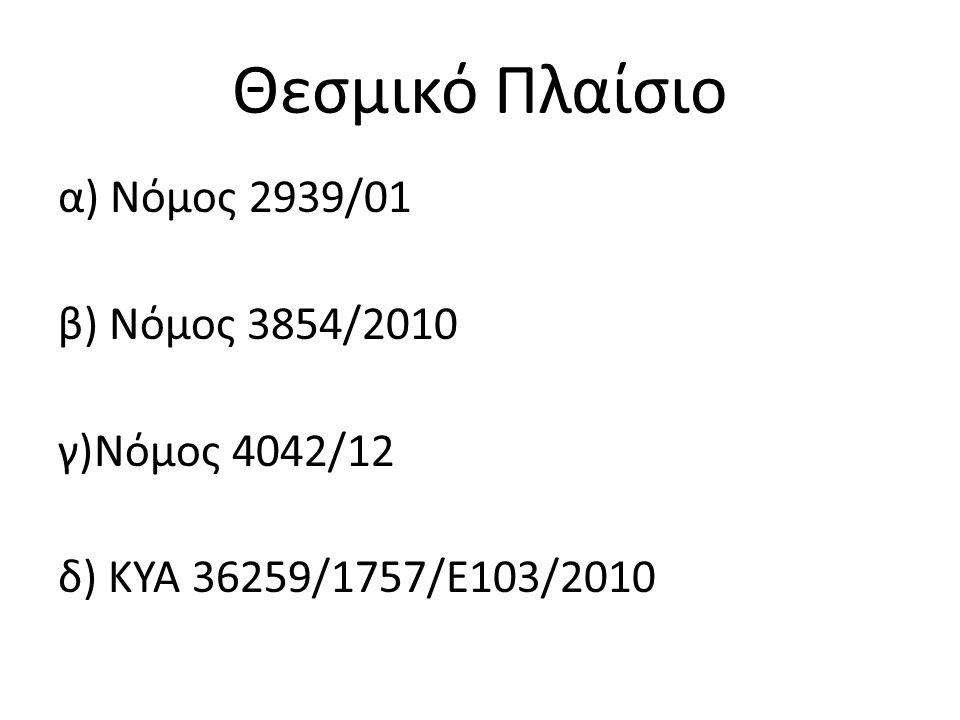 Θεσμικό Πλαίσιο α) Νόμος 2939/01 β) Νόμος 3854/2010 γ)Νόμος 4042/12 δ) ΚΥΑ 36259/1757/Ε103/2010