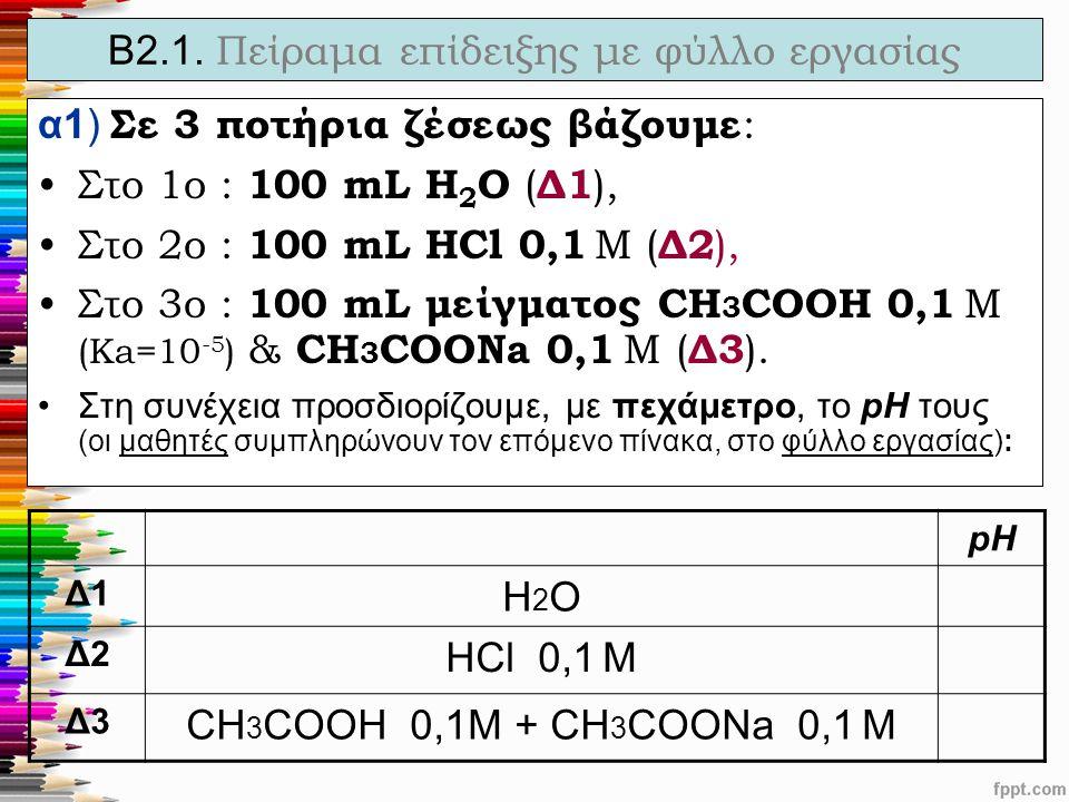 Β2.1. Πείραμα επίδειξης με φύλλο εργασίας α1) Σε 3 ποτήρια ζέσεως βάζουμε : Στο 1ο : 100 mL H 2 O ( Δ1 ), Στο 2ο : 100 mL ΗCl 0,1 M ( Δ2 ), Στο 3ο : 1