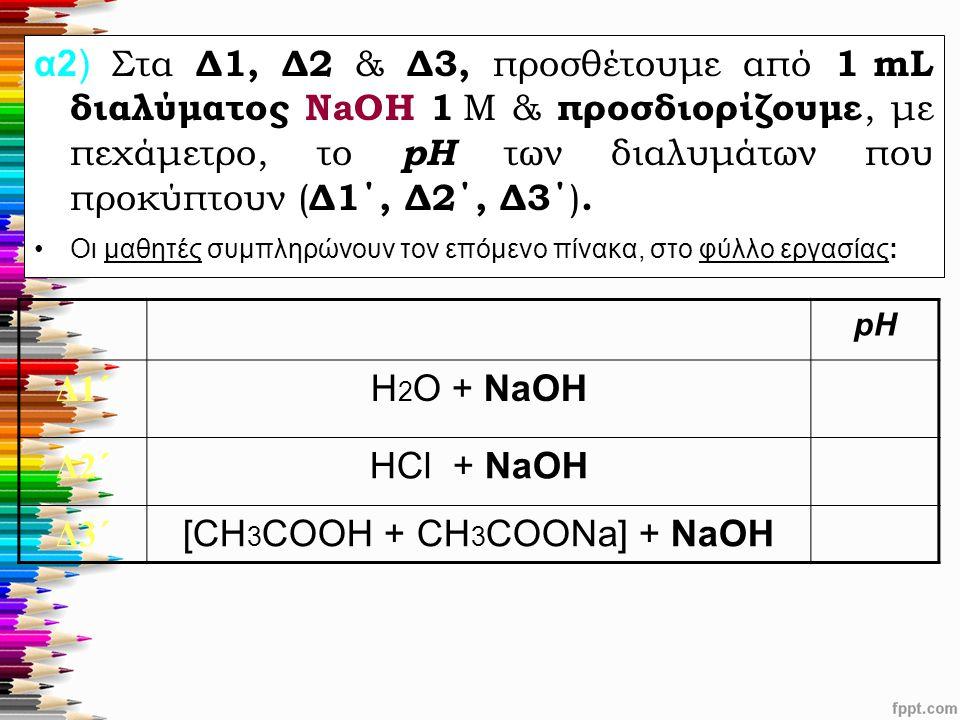 α2) Στα Δ1, Δ2 & Δ3, προσθέτουμε από 1 mL διαλύματος ΝaOH 1 M & προσδιορίζουμε, με πεχάμετρο, το pH των διαλυμάτων που προκύπτουν ( Δ1΄, Δ2΄, Δ3΄ ). Ο