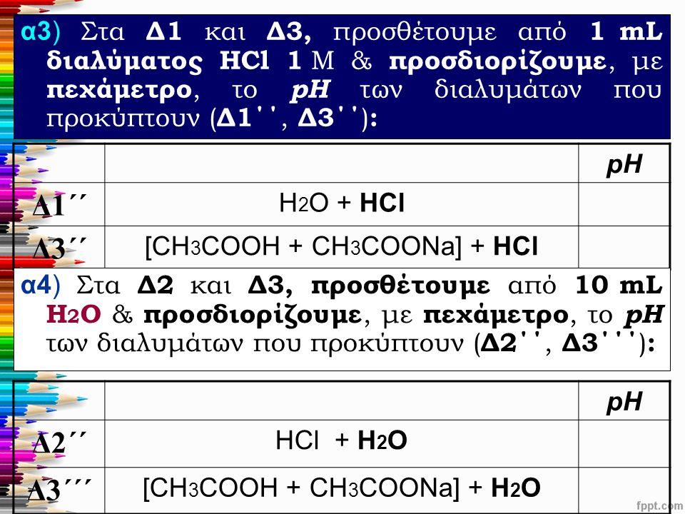 α3) Στα Δ1 και Δ3, προσθέτουμε από 1 mL διαλύματος HCl 1 M & προσδιορίζουμε, με πεχάμετρο, το pH των διαλυμάτων που προκύπτουν ( Δ1΄΄, Δ3΄΄ ) : pH Δ1΄