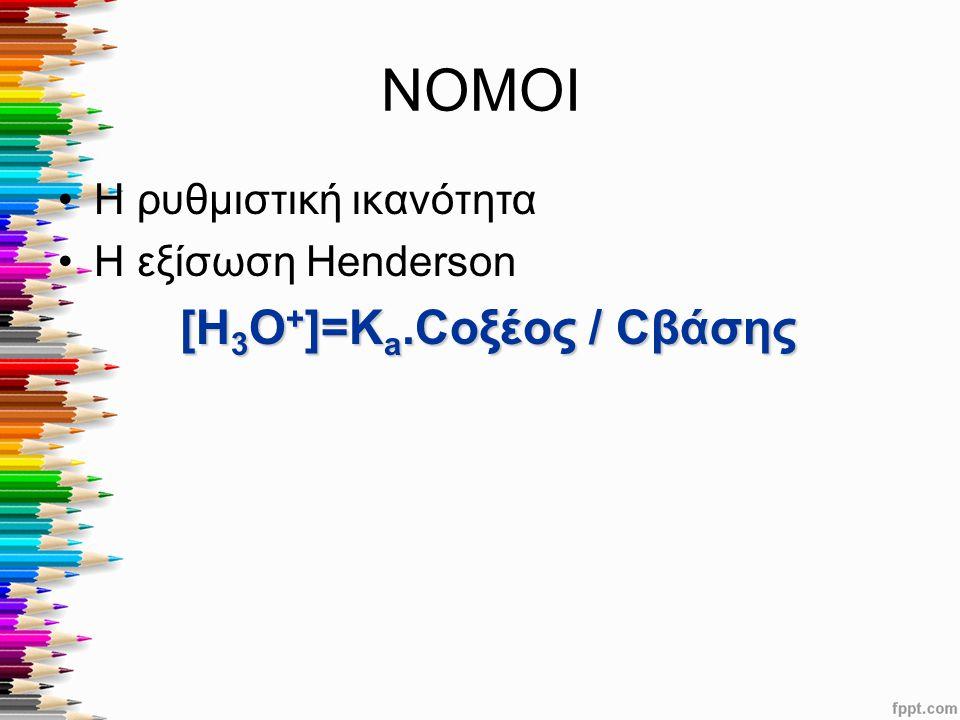 ΝΟΜΟΙ Η ρυθμιστική ικανότητα Η εξίσωση Henderson [Η 3 Ο + ]=Κ a.Cοξέος / Cβάσης