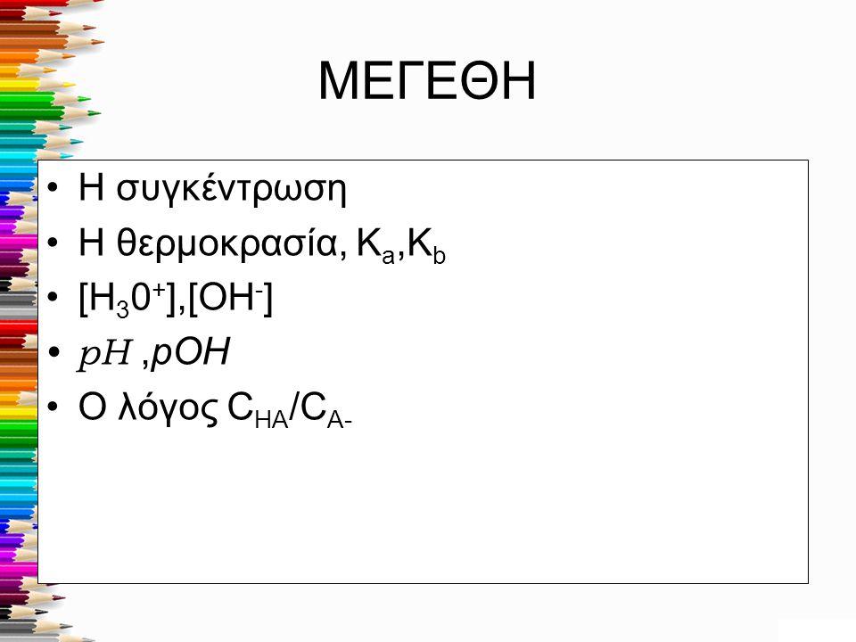 ΜΕΓΕΘΗ Η συγκέντρωση Η θερμοκρασία, K a,K b [H 3 0 + ],[OH - ] pH,pOH Ο λόγος C HA /C A-