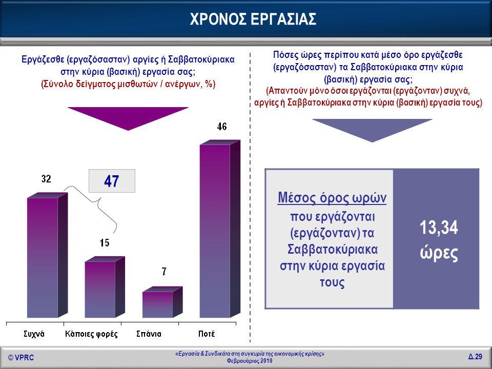 © VPRC Δ.29 «Εργασία & Συνδικάτα στη συγκυρία της οικονομικής κρίσης» Φεβρουάριος 2010 Εργάζεσθε (εργαζόσασταν) αργίες ή Σαββατοκύριακα στην κύρια (βα