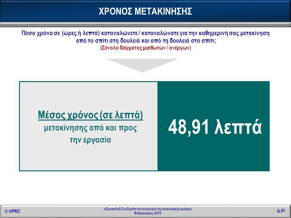 © VPRC Δ.51 «Εργασία & Συνδικάτα στη συγκυρία της οικονομικής κρίσης» Φεβρουάριος 2010 ΧΡΟΝΟΣ ΜΕΤΑΚΙΝΗΣΗΣ Μέσος χρόνος (σε λεπτά) μετακίνησης από και