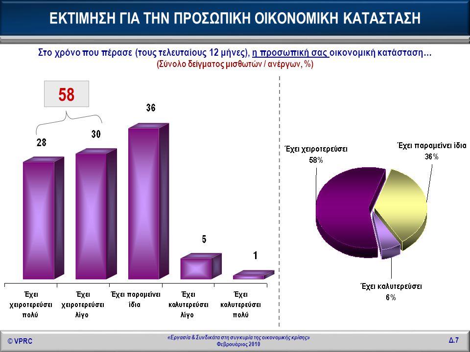 © VPRC Δ.28 «Εργασία & Συνδικάτα στη συγκυρία της οικονομικής κρίσης» Φεβρουάριος 2010 ΚΛΑΔΟΣ ΑΠΑΣΧΟΛΗΣΗΣ - 1 Μέσος χρόνος εργασίας την εβδομάδα στην κύρια εργασία τους Βιομηχανία, βιοτεχνία 44,53 Οικοδομή, κατασκευές, δημόσια έργα 40,20 Χονδρικό και λιανικό εμπόριο, επισκευή αυτοκινήτων, μοτοσυκλετών και ειδών προσωπικής και οικιακής χρήσης 36,70 Εστιατόρια, ξενοδοχεία 39,42 Επικοινωνίες, μεταφορές, αποθηκεύσεις 38,39 Ενδιάμεσοι χρηματοπιστωτικοί οργανισμοί (Τράπεζες, ασφάλειες εκτός υποχρεωτικές, χρηματιστήριο) 44,24 ΚΛΑΔΟΣ ΑΠΑΣΧΟΛΗΣΗΣ - 2 Μέσος χρόνος εργασίας την εβδομάδα στην κύρια εργασία τους Διαχείριση ακίνητης περιουσίας εκμισθώσεις και επιχειρηματικές δραστηριότητες, Εκμισθώσεις /Πληροφορική / Έρευνα – Ανάπτυξη /Φοροτεχνικές – Νομικές δραστηριότητες / Διαφήμιση 40,57 Δημόσια Διοίκηση (Υπουργεία, Τοπική Αυτοδιοίκηση, Ασφαλιστικά Ταμεία) 36,41 Εκπαίδευση 29,98 Υγεία, πρόνοια 37,80 Άλλες δραστηριότητες παροχής υπηρεσιών (Διάθεση λυμάτων / Δραστηριότητες οργανώσεων / Ψυχαγωγικές, πολιτιστικές, αθλητικές δραστηριότητες, υπηρεσίες γυμναστηρίων κ.λπ.) 37,91 Για τους κλάδους : Γεωργία / Αλιεία / Κτηνοτροφία, Ορυχεία, Λατομεία, Μεταλλεία, Ενέργεια, Ύδρευση & Ιδιωτικά νοικοκυριά που απασχολούν προσωπικό, δεν παρουσιάζονται ποσοστά λόγω μικρής αριθμητικής βάσης.