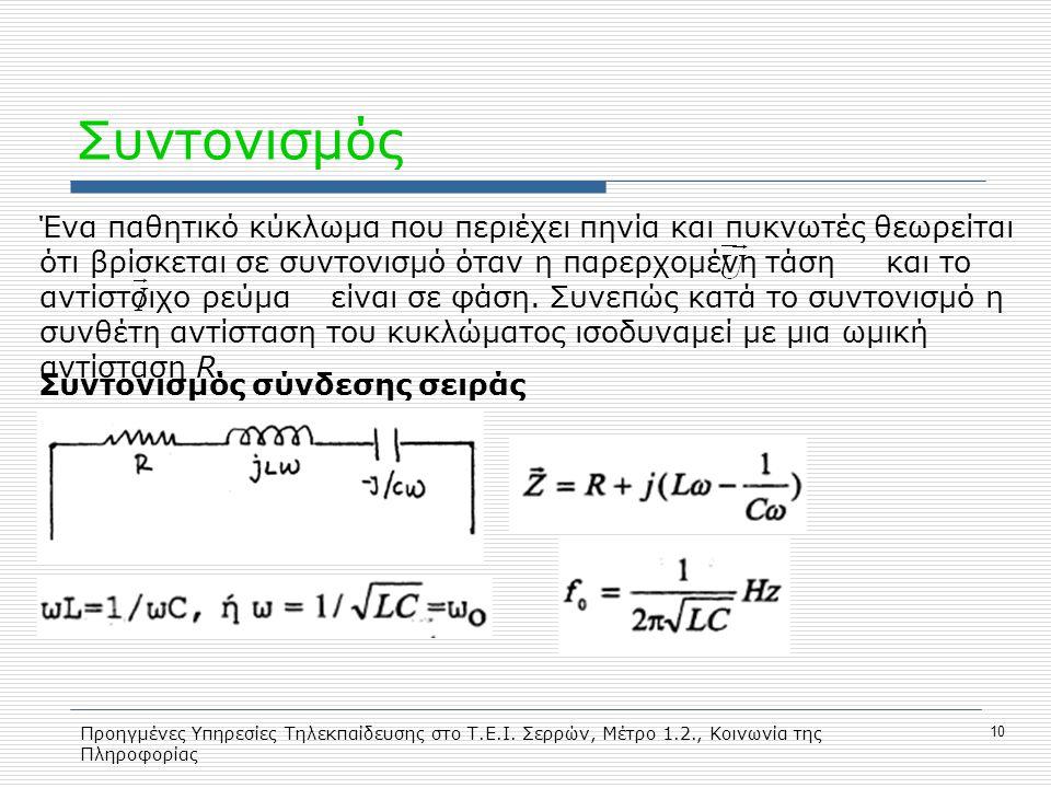 Προηγμένες Υπηρεσίες Τηλεκπαίδευσης στο Τ.Ε.Ι. Σερρών, Μέτρο 1.2., Κοινωνία της Πληροφορίας 10 Συντονισμός Ένα παθητικό κύκλωμα που περιέχει πηνία και