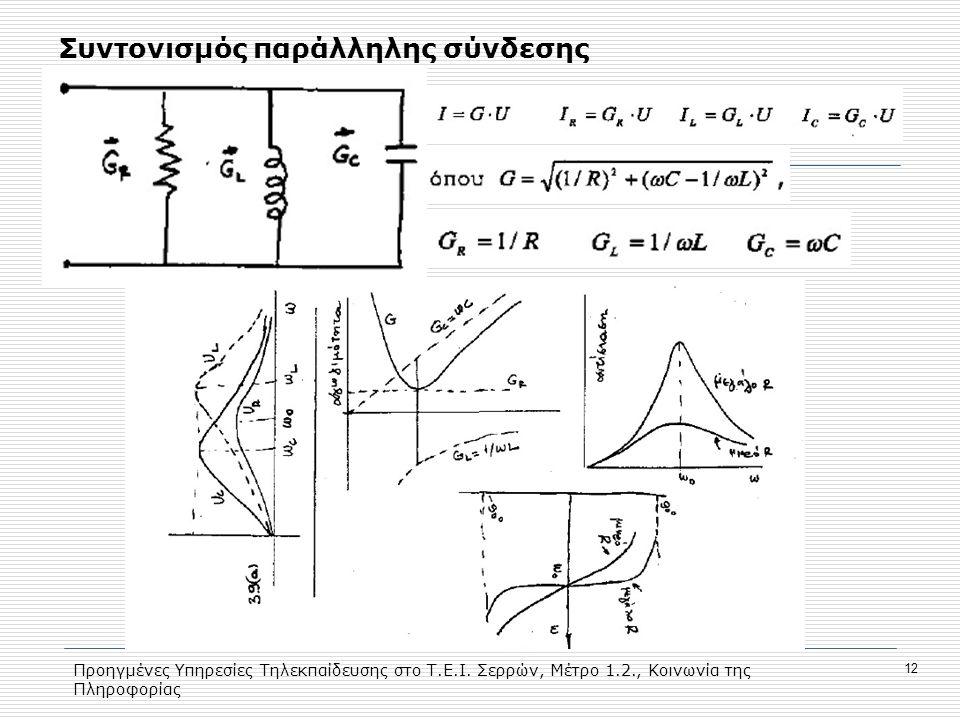 Προηγμένες Υπηρεσίες Τηλεκπαίδευσης στο Τ.Ε.Ι. Σερρών, Μέτρο 1.2., Κοινωνία της Πληροφορίας 12 Συντονισμός παράλληλης σύνδεσης