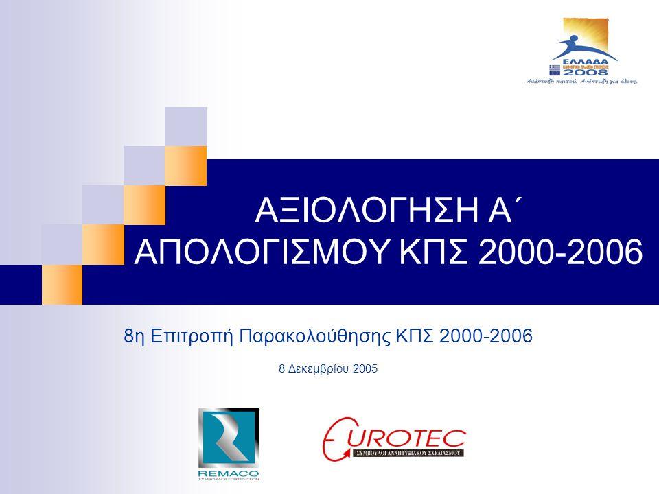ΑΞΙΟΛΟΓΗΣΗ Α΄ ΑΠΟΛΟΓΙΣΜΟΥ ΚΠΣ 2000-2006 8η Επιτροπή Παρακολούθησης ΚΠΣ 2000-2006 8 Δεκεμβρίου 2005