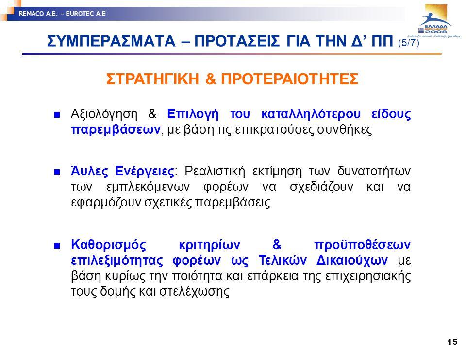 15 REMACO A.E. – EUROTEC A.E ΣΤΡΑΤΗΓΙΚΗ & ΠΡΟΤΕΡΑΙΟΤΗΤΕΣ ΣΥΜΠΕΡΑΣΜΑΤΑ – ΠΡΟΤΑΣΕΙΣ ΓΙΑ ΤΗΝ Δ' ΠΠ (5/7) Αξιολόγηση & Επιλογή του καταλληλότερου είδους π