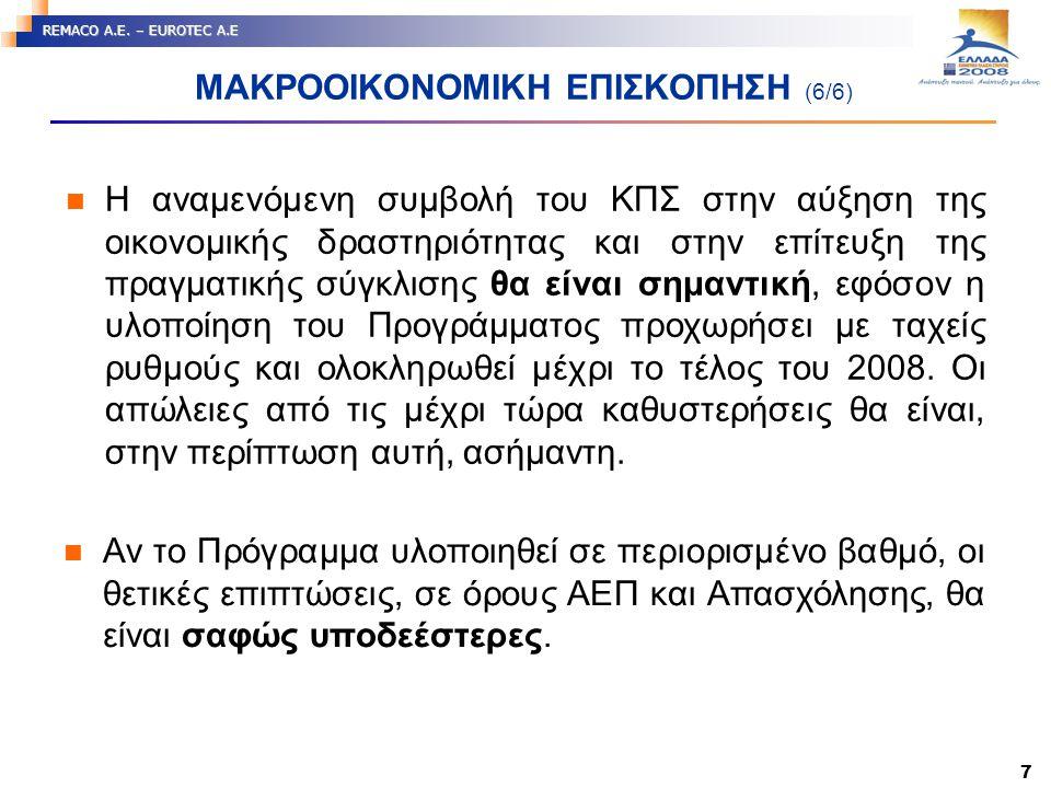 7 REMACO A.E. – EUROTEC A.E ΜΑΚΡΟΟΙΚΟΝΟΜΙΚΗ ΕΠΙΣΚΟΠΗΣΗ (6/6) Η αναμενόμενη συμβολή του ΚΠΣ στην αύξηση της οικονομικής δραστηριότητας και στην επίτευξ