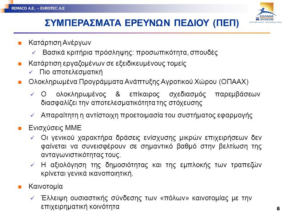 8 REMACO A.E. – EUROTEC A.E ΣΥΜΠΕΡΑΣΜΑΤΑ ΕΡΕΥΝΩΝ ΠΕΔΙΟΥ (ΠΕΠ) Κατάρτιση Ανέργων Βασικά κριτήρια πρόσληψης: προσωπικότητα, σπουδές Κατάρτιση εργαζομένω