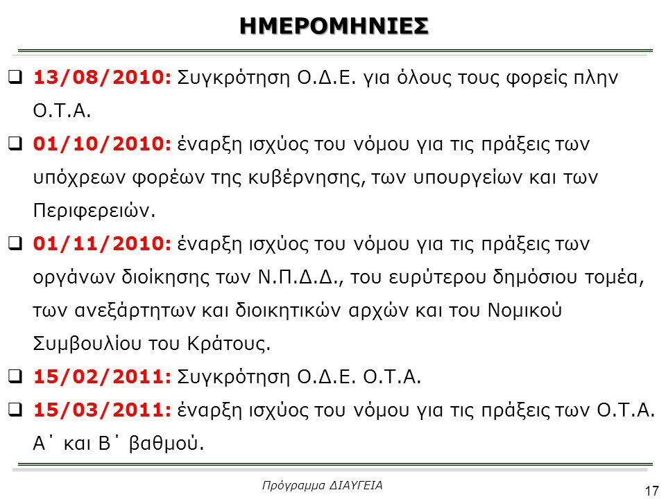  13/08/2010: Συγκρότηση Ο.Δ.Ε. για όλους τους φορείς πλην Ο.Τ.Α.  01/10/2010: έναρξη ισχύος του νόμου για τις πράξεις των υπόχρεων φορέων της κυβέρν