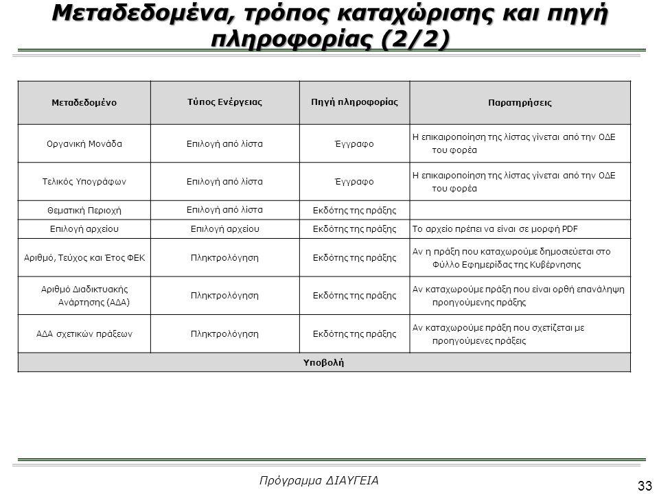 33 Μεταδεδομένα, τρόπος καταχώρισης και πηγή πληροφορίας (2/2) Πρόγραμμα ΔΙΑΥΓΕΙΑ Μεταδεδομένο Τύπος ΕνέργειαςΠηγή πληροφορίας Παρατηρήσεις Οργανική Μ