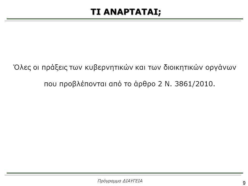 Πρόγραμμα ΔΙΑΥΓΕΙΑ 10 ΠΟΤΕ;  «Αμελλητί» ανάρτηση στο διαδίκτυο με μέριμνα του οργάνου που τις εξέδωσε, ως εξής: Α) Για τις κατά νόμο δημοσιευτέες στο Φ.Ε.Κ., ευθύς μόλις γίνει γνωστός ο αριθμός Φ.Ε.Κ.