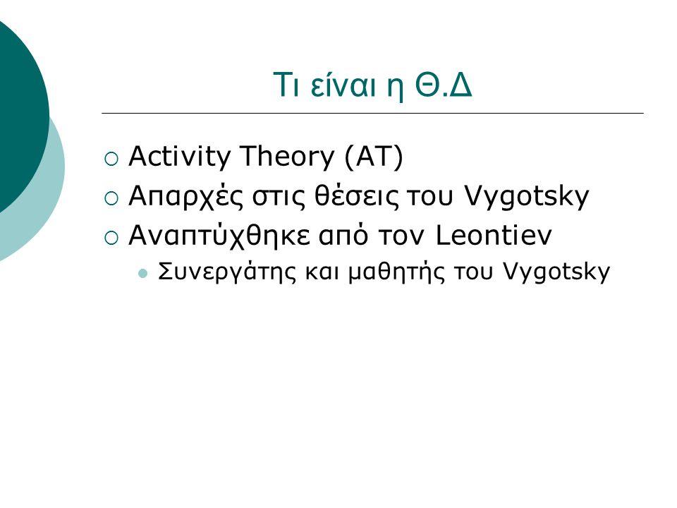 Τι είναι η Θ.Δ  Activity Theory (AT)  Απαρχές στις θέσεις του Vygotsky  Αναπτύχθηκε από τον Leontiev Συνεργάτης και μαθητής του Vygotsky