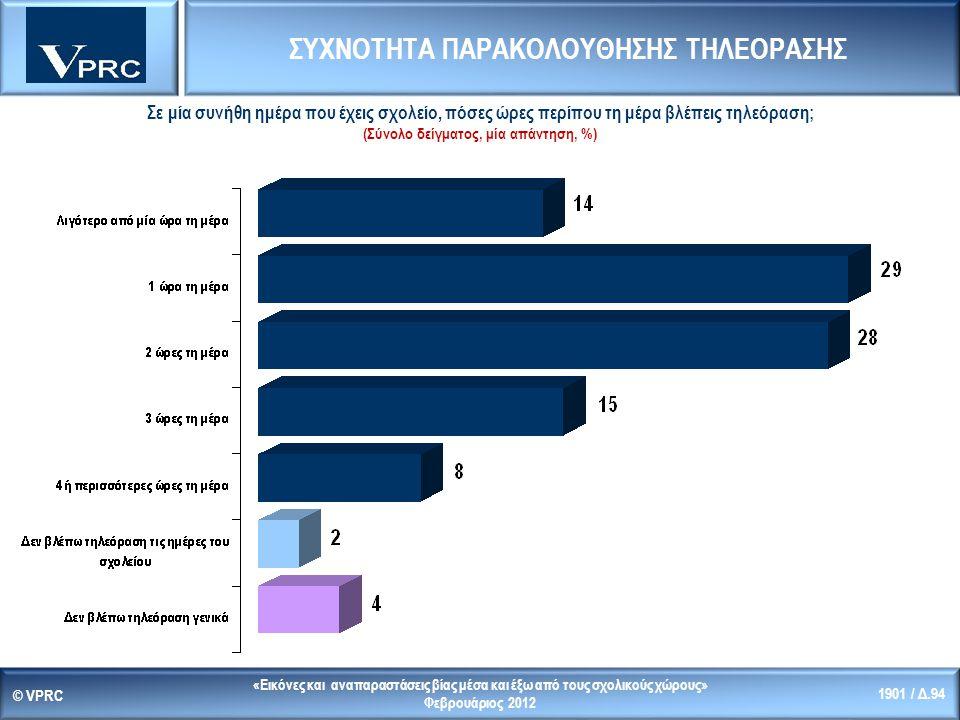 «Εικόνες και αναπαραστάσεις βίας μέσα και έξω από τους σχολικούς χώρους» Φεβρουάριος 2012 © VPRC 1901 / Δ.94 Σε μία συνήθη ημέρα που έχεις σχολείο, πόσες ώρες περίπου τη μέρα βλέπεις τηλεόραση; (Σύνολο δείγματος, μία απάντηση, %) ΣΥΧΝΟΤΗΤΑ ΠΑΡΑΚΟΛΟΥΘΗΣΗΣ ΤΗΛΕΟΡΑΣΗΣ
