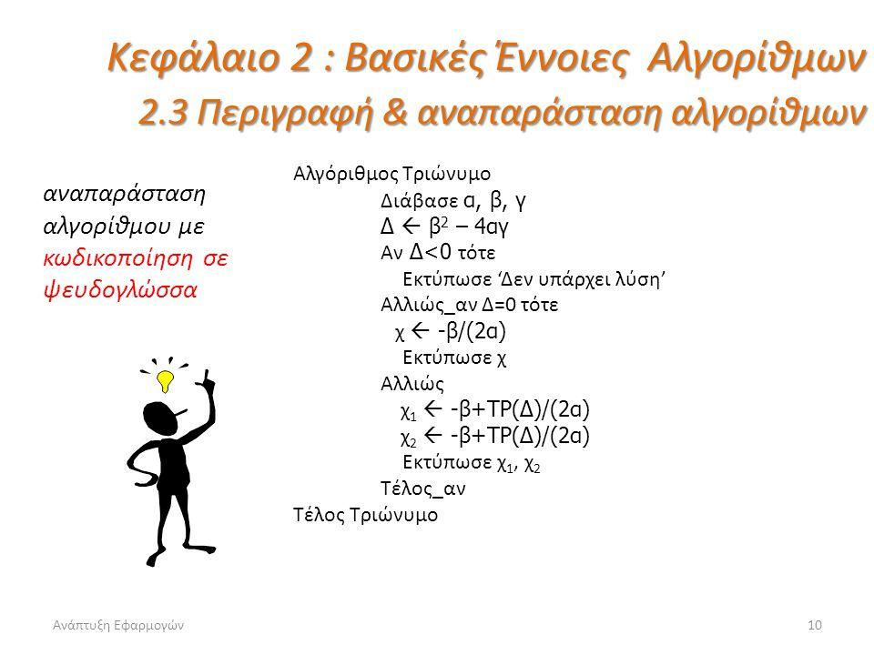 Ανάπτυξη Εφαρμογών10 Κεφάλαιο 2 : Βασικές Έννοιες Αλγορίθμων 2.3 Περιγραφή & αναπαράσταση αλγορίθμων αναπαράσταση αλγορίθμου με κωδικοποίηση σε ψευδογ