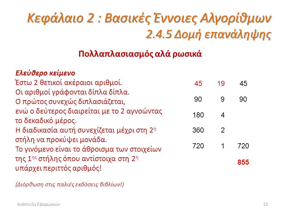 Ανάπτυξη Εφαρμογών21 Κεφάλαιο 2 : Βασικές Έννοιες Αλγορίθμων 2.4.5 Δομή επανάληψης Πολλαπλασιασμός αλά ρωσικά Ελεύθερο κείμενο Έστω 2 θετικοί ακέραιοι