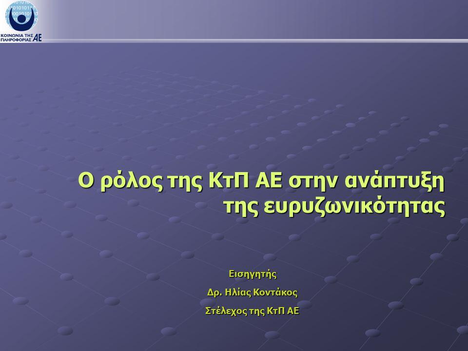 Ο ρόλος της ΚτΠ ΑΕ στην ανάπτυξη της ευρυζωνικότητας Εισηγητής Δρ.