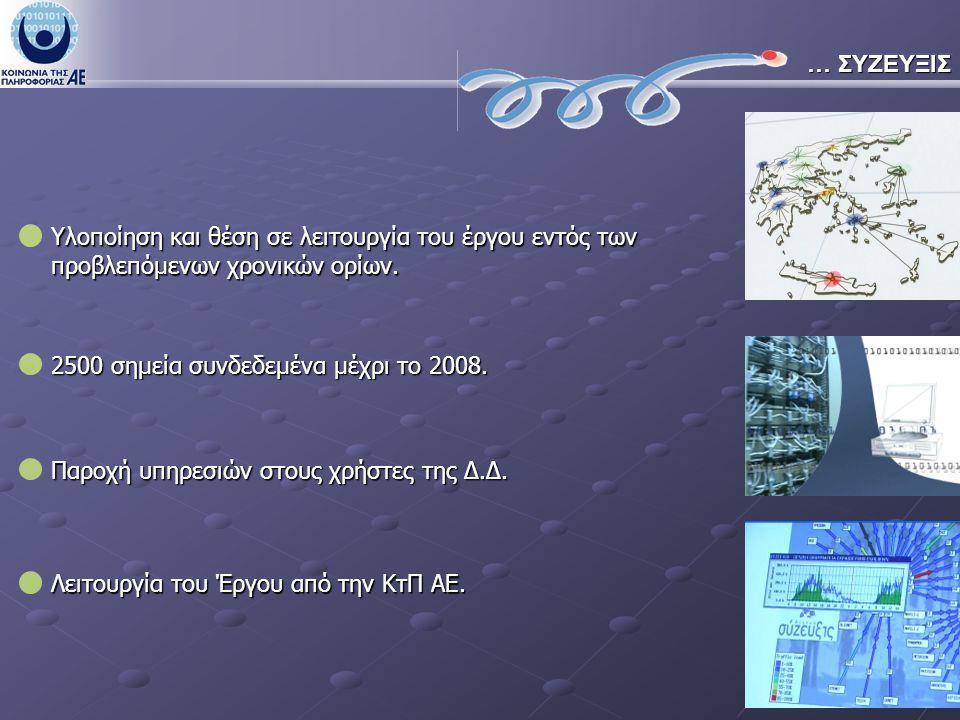 … ΣΥΖΕΥΞΙΣ 2500 σημεία συνδεδεμένα μέχρι το 2008. Λειτουργία του Έργου από την ΚτΠ ΑΕ.