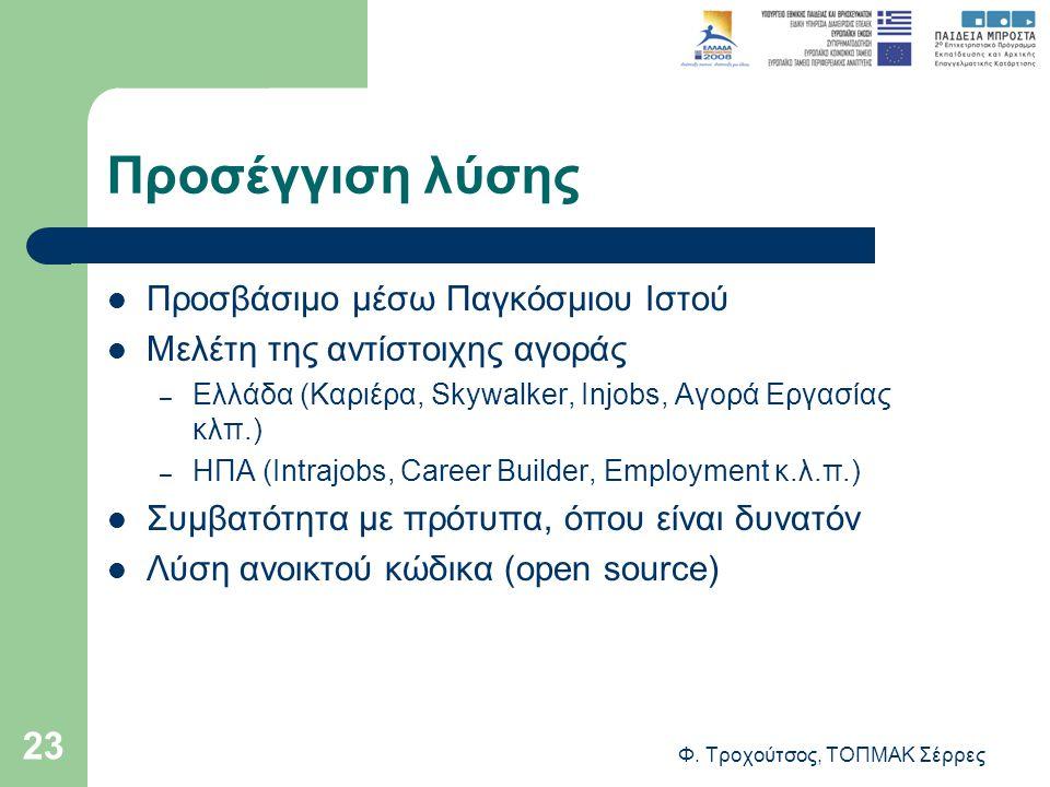 Φ. Τροχούτσος, ΤΟΠΜΑΚ Σέρρες 23 Προσέγγιση λύσης Προσβάσιμο μέσω Παγκόσμιου Ιστού Μελέτη της αντίστοιχης αγοράς – Ελλάδα (Καριέρα, Skywalker, Injobs,