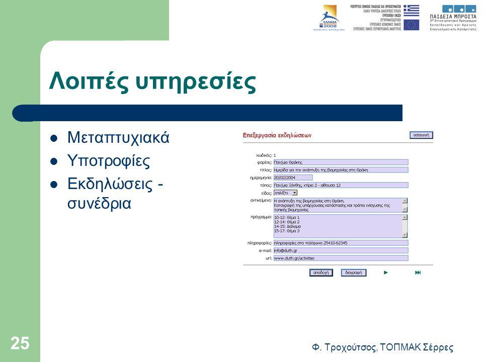 Φ. Τροχούτσος, ΤΟΠΜΑΚ Σέρρες 25 Λοιπές υπηρεσίες Μεταπτυχιακά Υποτροφίες Εκδηλώσεις - συνέδρια