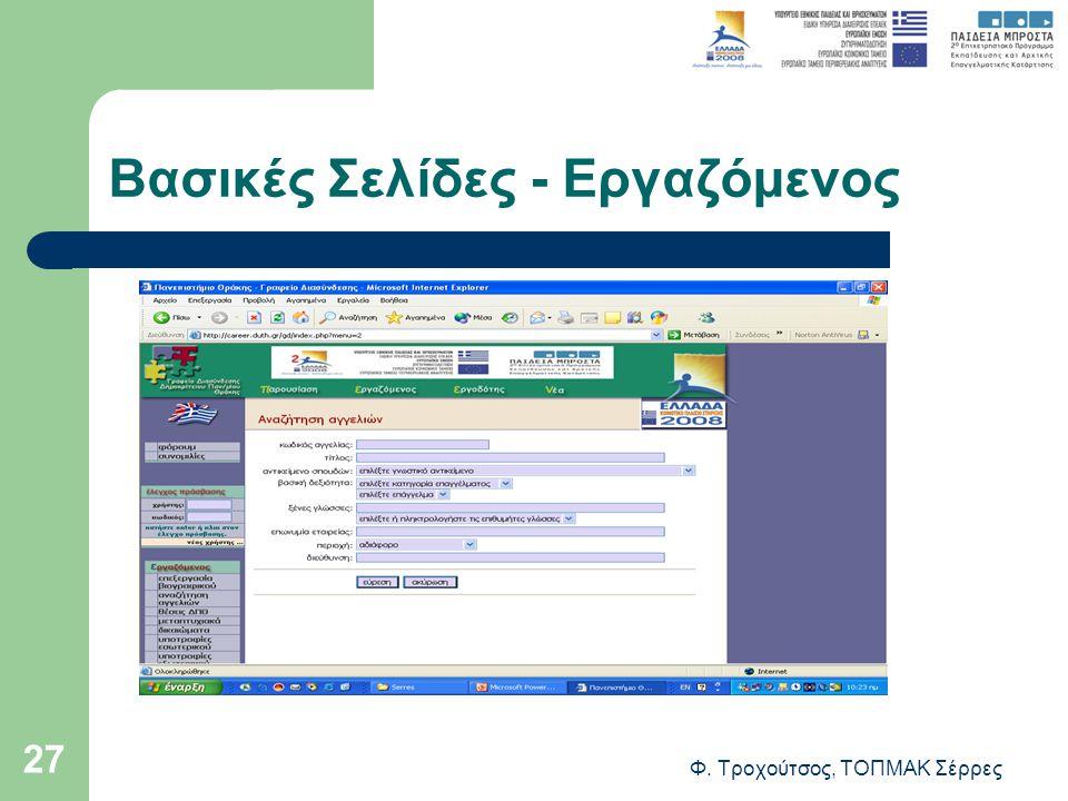 Φ. Τροχούτσος, ΤΟΠΜΑΚ Σέρρες 27 Βασικές Σελίδες - Εργαζόμενος