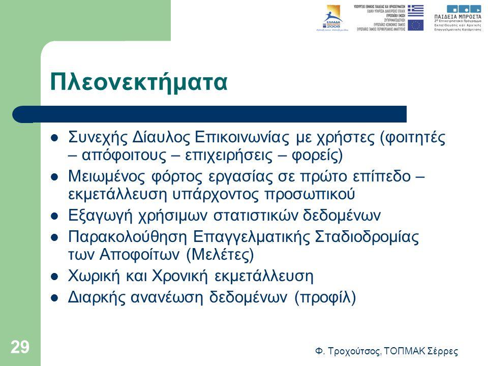 Φ. Τροχούτσος, ΤΟΠΜΑΚ Σέρρες 29 Πλεονεκτήματα Συνεχής Δίαυλος Επικοινωνίας με χρήστες (φοιτητές – απόφοιτους – επιχειρήσεις – φορείς) Μειωμένος φόρτος