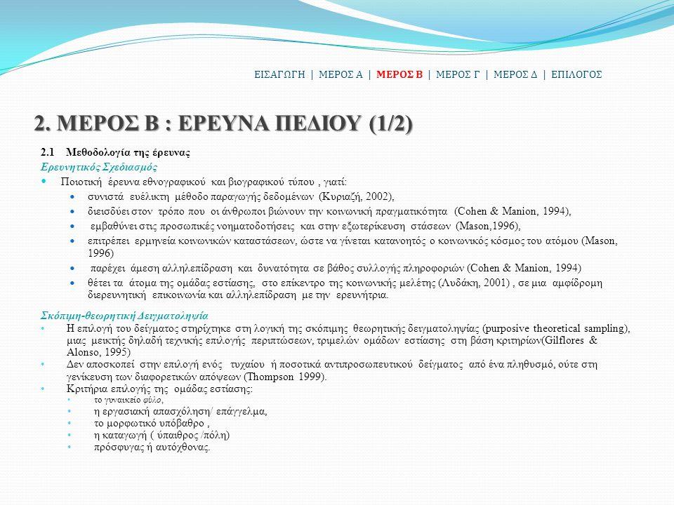 2. ΜΕΡΟΣ Β : ΕΡΕΥΝΑ ΠΕΔΙΟΥ (1/2) 2.1 Μεθοδολογία της έρευνας Ερευνητικός Σχεδιασμός Ποιοτική έρευνα εθνογραφικού και βιογραφικού τύπου, γιατί: συνιστά