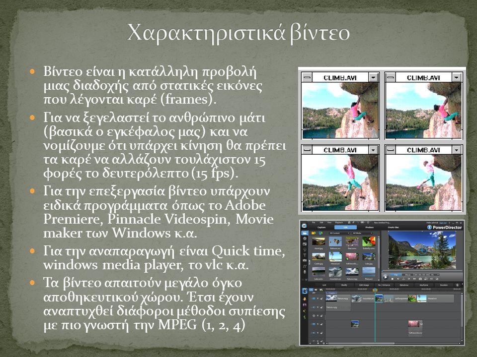 Βίντεο είναι η κατάλληλη προβολή μιας διαδοχής από στατικές εικόνες που λέγονται καρέ (frames).